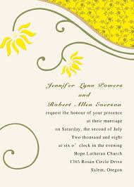 wedding message card affordable simple and rustic yellow floral wedding invitations