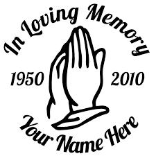 in memory of loving memory praying sticker