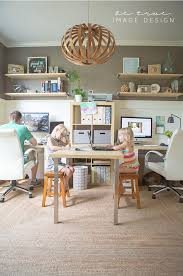 office with two desks plus craft activity area love the layout