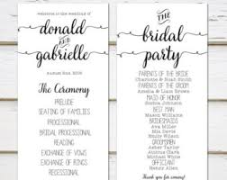 simple wedding program casual program etsy