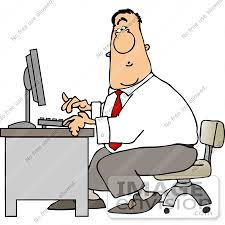 Business Computer Desk Caucasian Business Typing On A Computer At A Desk Clipart