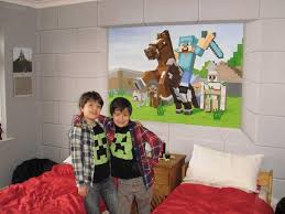 custom murals blog the boys enjoying their new custom murals minecraft bedroom