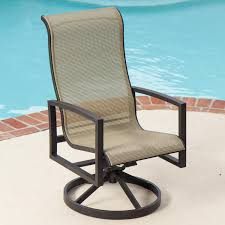 Sling Back Patio Dining Sets - exterior light brown polished metal swivel chair decor with