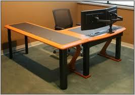 multiple monitor computer desk dual with hutch multi monitor