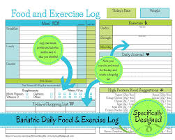 bariatric surgery daily food exercise tracker weigh loss journal