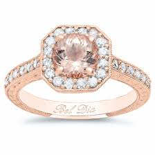 rose gold art deco square halo engagement ring for round morganite