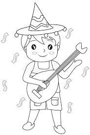 boy guitar coloring stock illustration image 51089186