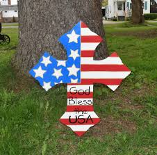Flag Stakes Patriotic Us Flag Cross God Bless The Usa Yard Art Stake