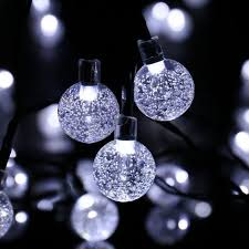 cool white lights 30 led cool white solar powered 8 mode bubble globe string curtain