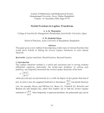 partial fractions in laplace transformation
