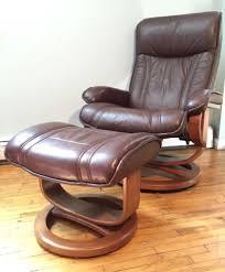 vintage palliser leather reclining lounge chair ottoman midcentury