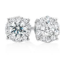 cluster stud earrings cluster stud earrings with 1 2 carat tw of diamonds in 10kt white gold