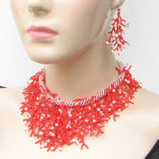 handmade beaded necklace images Handmade beaded red seed bead statement necklace set s17 11 jpg