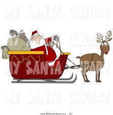 reindeer pulling santa u0027s sleigh clipart 34