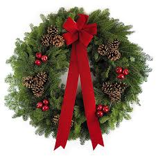 balsam wreaths and table centerpieces from