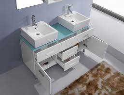 modern avola double sink bathroom vanities blue tempered glass top