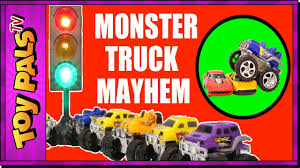 monster truck youtube videos monster trucks toys video with street light learn colors youtube