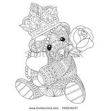 teddy bear hugging heart roses zentangle stock vector 589038227
