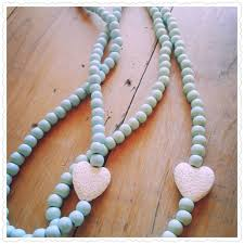 wood beads necklace images Teal wooden bead necklace by beads blooms sparkles pty ltd jpg