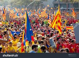 Spain Flag 2014 Barcelona Spain September 11 2014 People Stock Photo 589529120