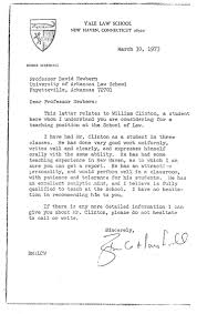 Examples Of Letters Of Recommendation For Teachers Here U0027s Bill Clinton U0027s Personnel File From His Time As An Arkansas