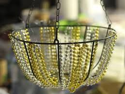 mardi gras bead chandelier make a beaded chandelier dollar store crafts