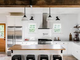 Farmhouse Pendant Lighting Kitchen by Wood Floors White Kitchen Stainless Steel Fixtures Tile Richmond