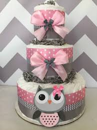 owl baby shower diaper cake in pink and grey owl baby shower owl