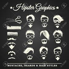 hipster graphic set with mustache beards and hair styles on