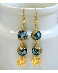 Deal Alert Miguel Ases Women Deal Alert Vintage Japanese Tensha Bead Blue Rose Dangle Drop