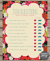 bridal shower question floral ten questions bridal shower wedding
