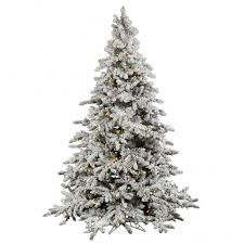 9 foot flocked utica fir tree clear leds a895181led