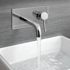 gladstone wall mounted modern chrome lever mixer basin tap