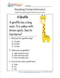 kindergarten reading comprehension a giraffe