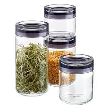 storage canisters kitchen grigio glass canisters by guzzini the container store