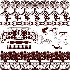 vector of set of ancient american ornaments on white royalty free