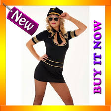 halloween flight attendant costume i40 ladies black air stewardess pilot flight attendant fancy dress