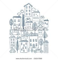 in house illustration town house shape stock vector 216247066