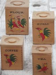 retro kitchen canister sets painted roosters wood canisters shabby country vintage kitchen