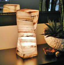 stone table lamp onyx alabaster marble light nightstand bedside