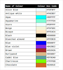 html color code chart html color code chart pdf sample html color