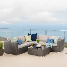 Rosa Sofa Santa Rosa Outdoor 6 Piece Wicker Seating Sectional Set With