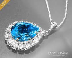 blue crystal necklace swarovski images Aquamarine halo crystal necklace swarovski aquamarine rhinestone jpg