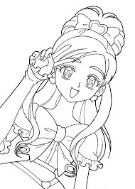 pretty cure characters anime coloring pages for kids printable