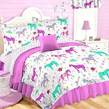 Girls Western Bedding by Amazon Com 5pc Pink Purple Horse Pony Twin Comforter Set