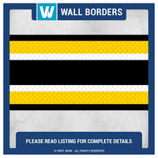 Wall Borders Wall Border Set Sports Stripes Black Yellow 16 Ft X 6 In