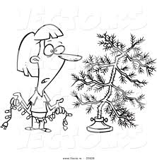 vector of a cartoon woman decorating a sparse xmas tree coloring