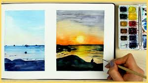 how to paint a sunset with watercolors for beginners art journal