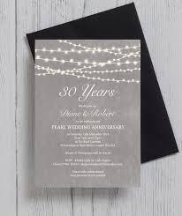 30 wedding anniversary grey fairy lights 30th pearl wedding anniversary invitation from
