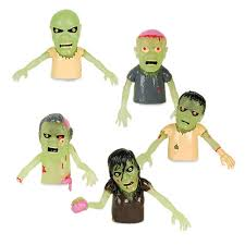 amazon com set of 5 glow in the dark zombie finger puppets